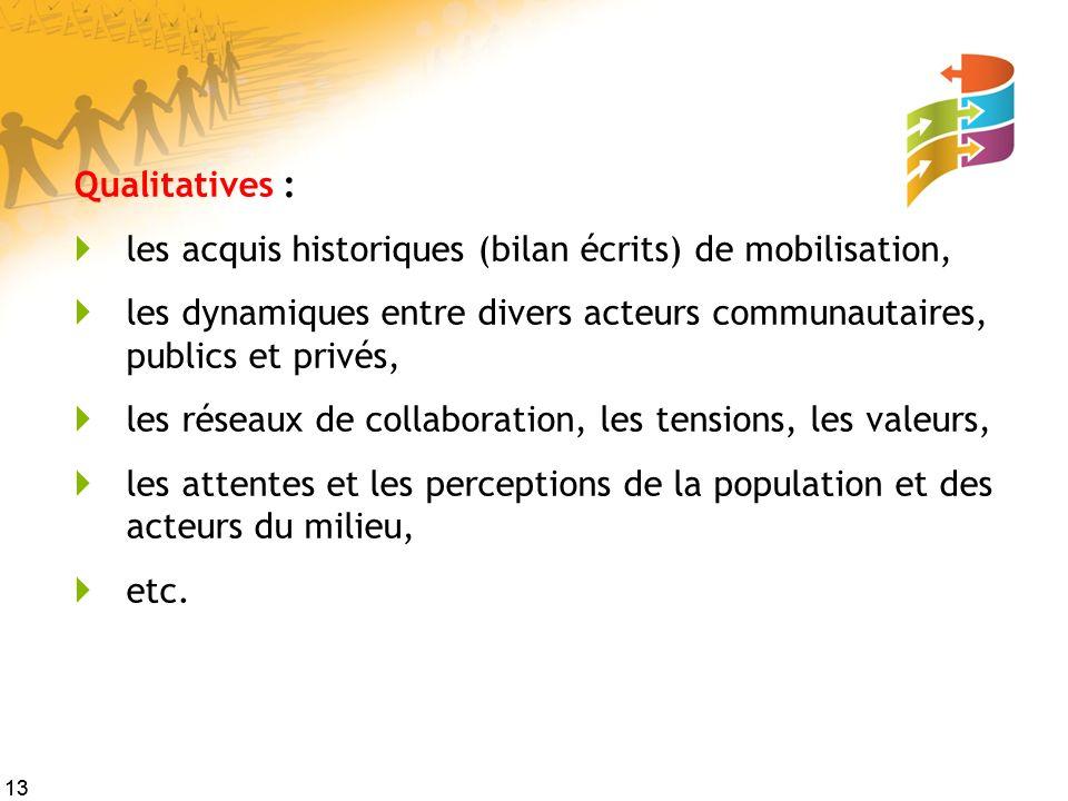 13 Qualitatives : les acquis historiques (bilan écrits) de mobilisation, les dynamiques entre divers acteurs communautaires, publics et privés, les ré