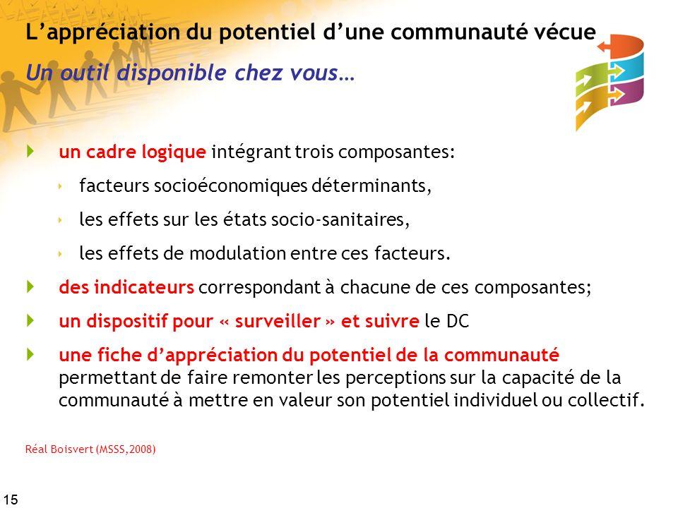 15 Lappréciation du potentiel dune communauté vécue Un outil disponible chez vous… un cadre logique intégrant trois composantes: facteurs socioéconomi