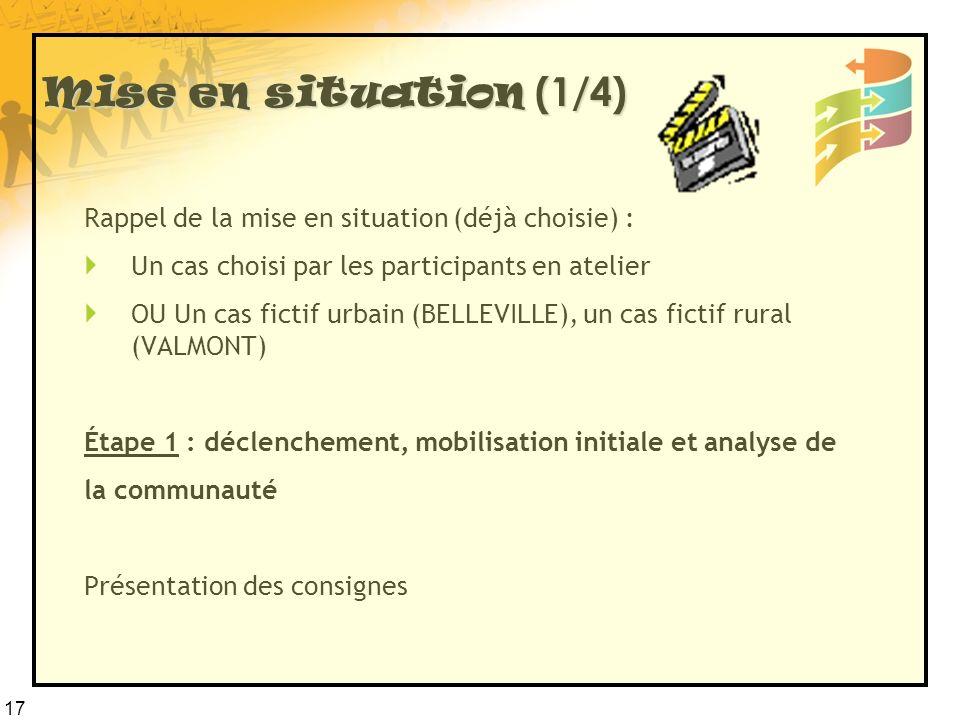 17 Mise en situation (1/4) Rappel de la mise en situation (déjà choisie) : Un cas choisi par les participants en atelier OU Un cas fictif urbain (BELL