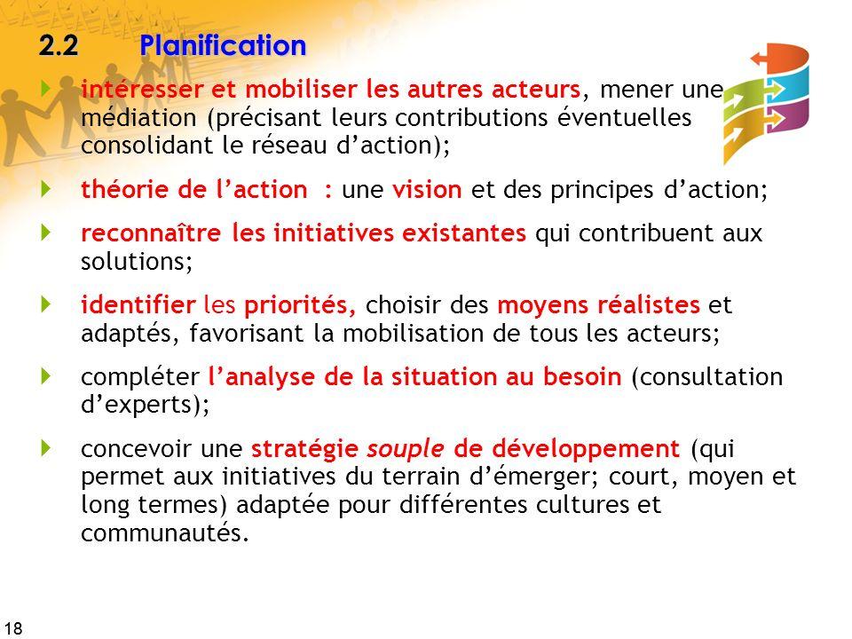 18 2.2Planification intéresser et mobiliser les autres acteurs, mener une médiation (précisant leurs contributions éventuelles consolidant le réseau d