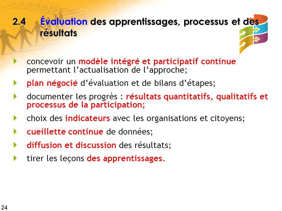24 2.4Évaluation des apprentissages, processus et des résultats concevoir un modèle intégré et participatif continue permettant lactualisation de lapp