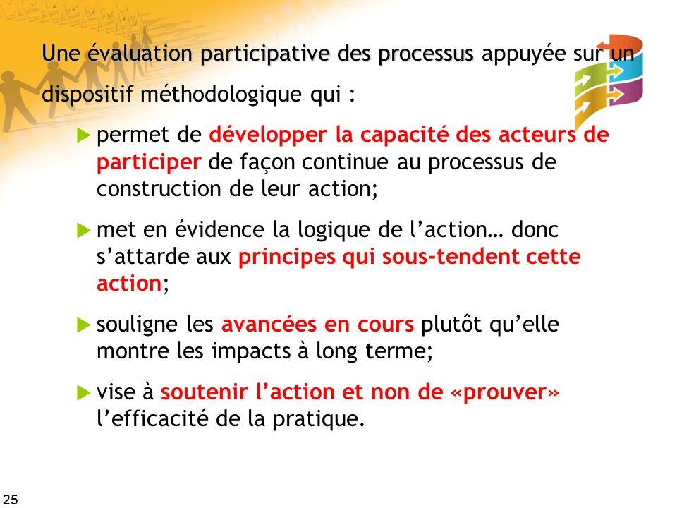 25 Une évaluation participative des processus Une évaluation participative des processus appuyée sur un dispositif méthodologique qui : permet de déve