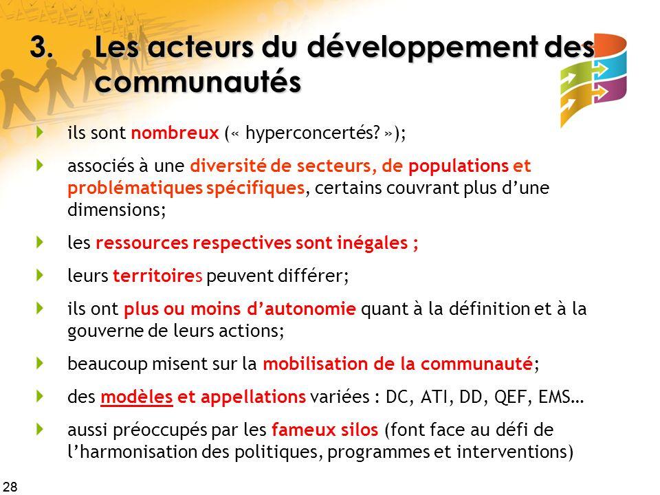 28 3.Les acteurs du développement des communautés ils sont nombreux (« hyperconcertés? »); associés à une diversité de secteurs, de populations et pro