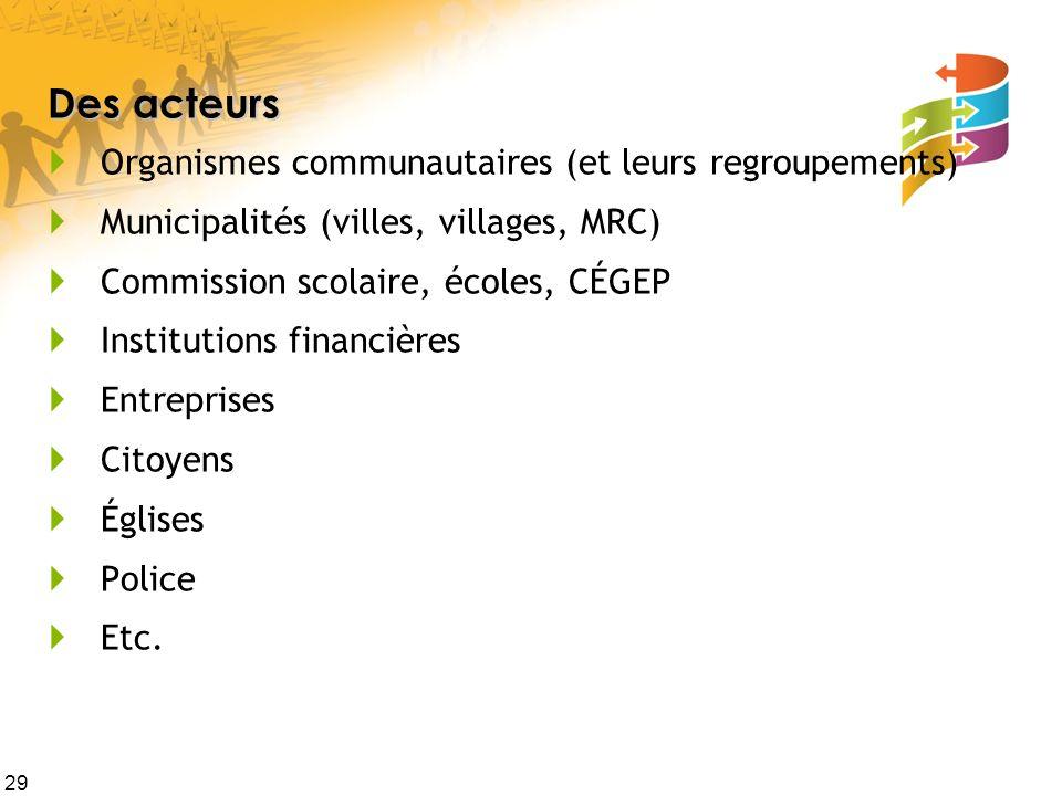 29 Des acteurs Organismes communautaires (et leurs regroupements) Municipalités (villes, villages, MRC) Commission scolaire, écoles, CÉGEP Institution