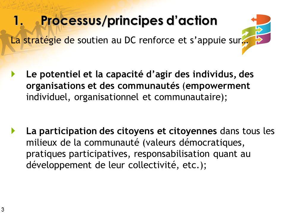 4 Les processus/principes daction Le travail intersectoriel, la réunion des organisations de la communauté autour dobjectifs et processus communs (par des concertation/partenariats, des réseaux déchanges et de réciprocité, la disparition des « silos », etc.); Un climat propice à laction et au leadership collégial (par laccompagnement de démarches de DC, le partage de connaissances, etc.).