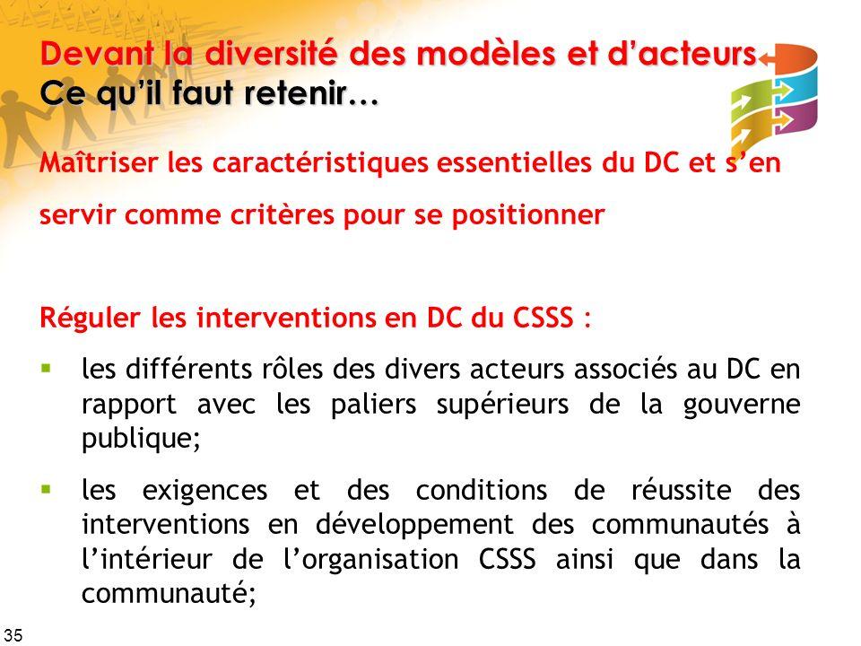 35 Devant la diversité des modèles et dacteurs Ce quil faut retenir… Maîtriser les caractéristiques essentielles du DC et sen servir comme critères po
