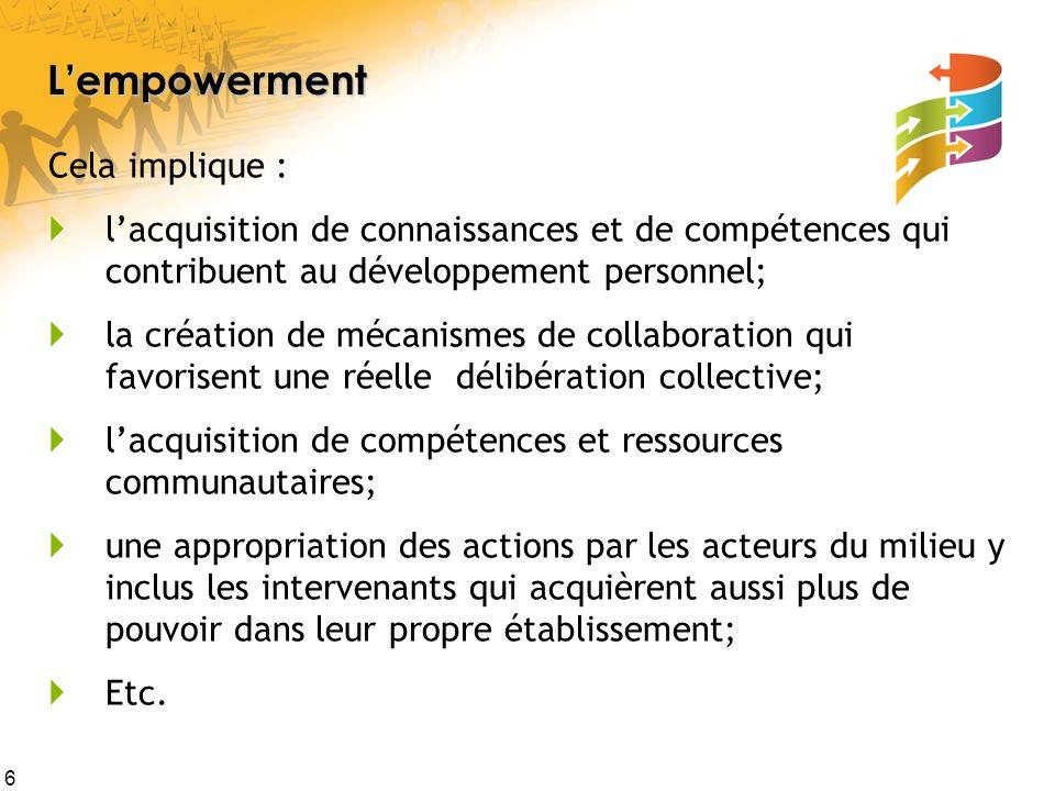6 Lempowerment Cela implique : lacquisition de connaissances et de compétences qui contribuent au développement personnel; la création de mécanismes d