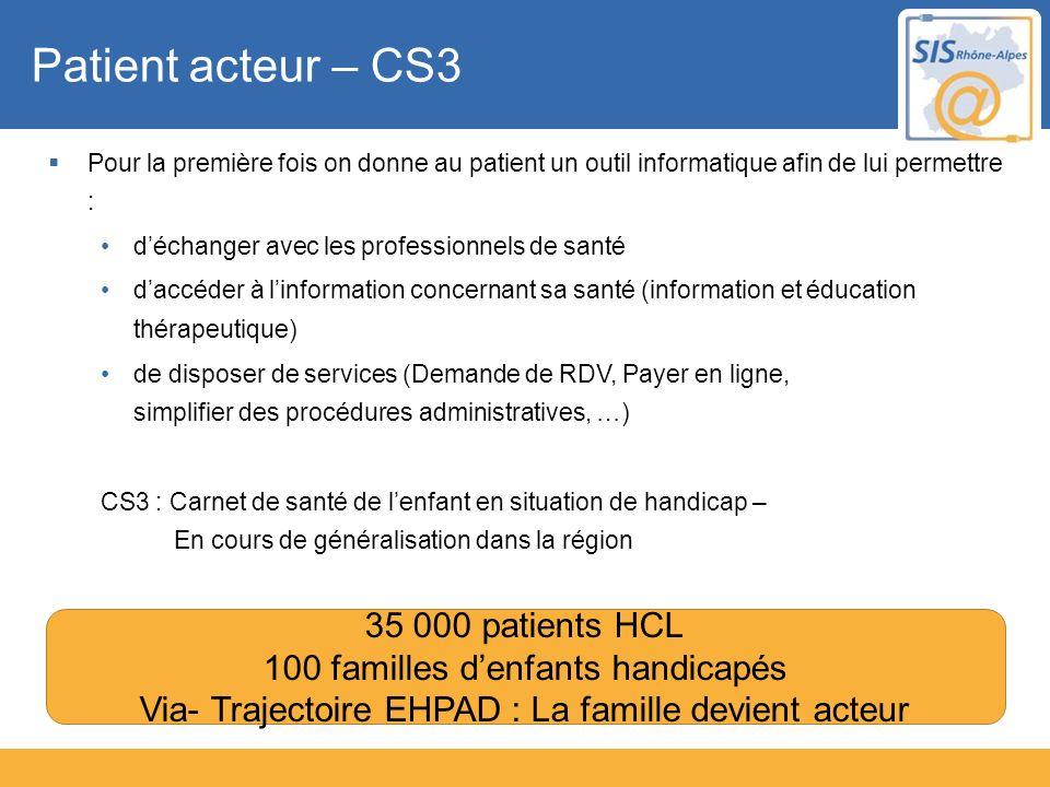Patient acteur – CS3 Pour la première fois on donne au patient un outil informatique afin de lui permettre : déchanger avec les professionnels de sant