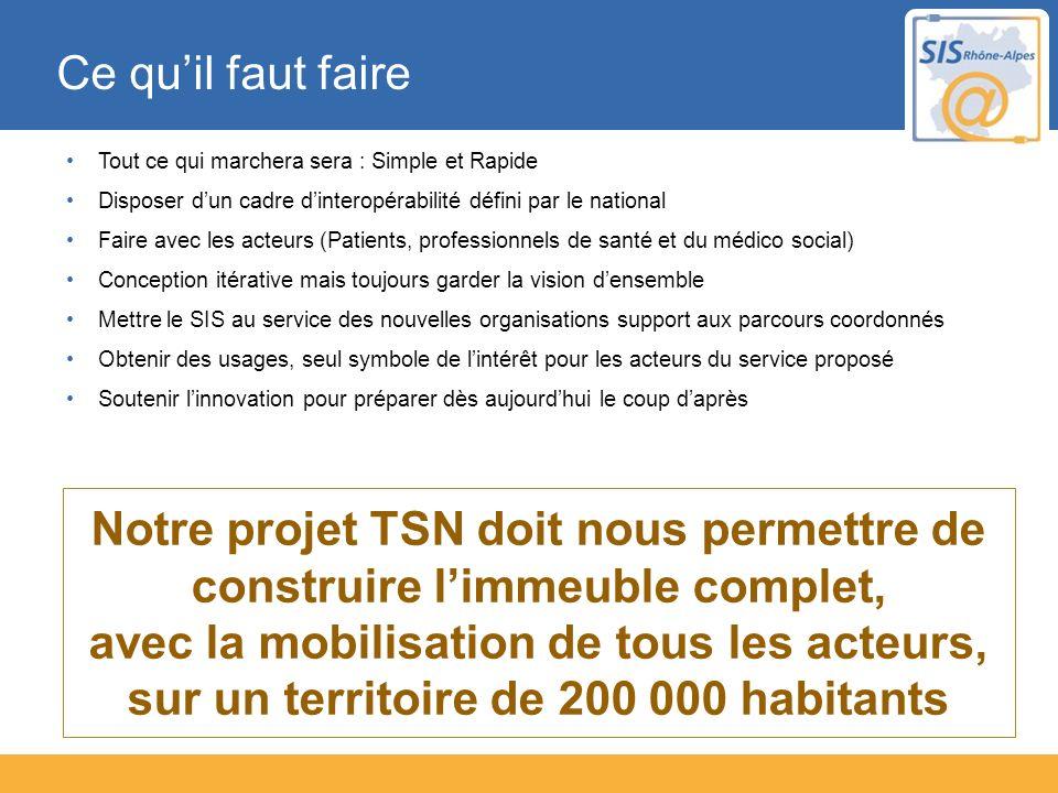 Notre projet TSN doit nous permettre de construire limmeuble complet, avec la mobilisation de tous les acteurs, sur un territoire de 200 000 habitants