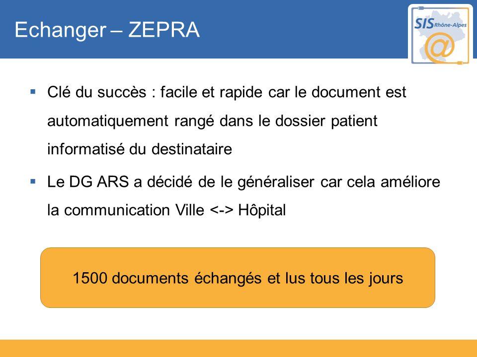 Echanger – ZEPRA Clé du succès : facile et rapide car le document est automatiquement rangé dans le dossier patient informatisé du destinataire Le DG