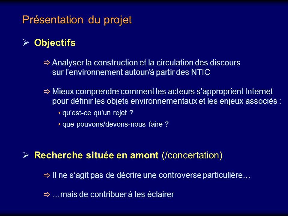 Objectifs Analyser la construction et la circulation des discours sur lenvironnement autour/à partir des NTIC Mieux comprendre comment les acteurs sapproprient Internet pour définir les objets environnementaux et les enjeux associés : quest-ce quun rejet .