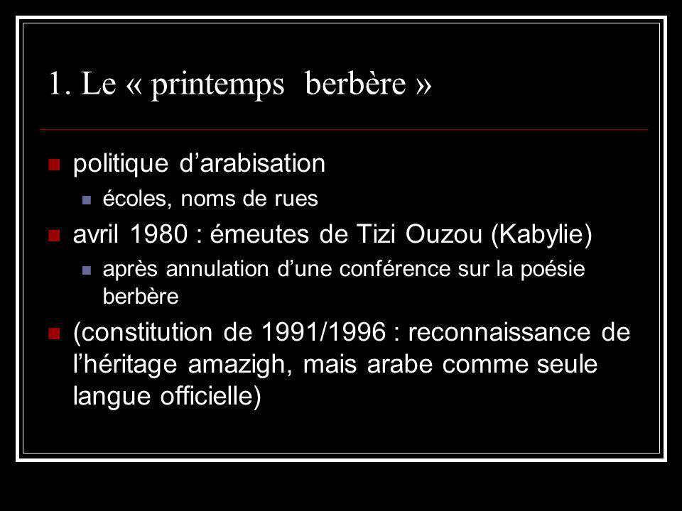 1. Le « printemps berbère » politique darabisation écoles, noms de rues avril 1980 : émeutes de Tizi Ouzou (Kabylie) après annulation dune conférence