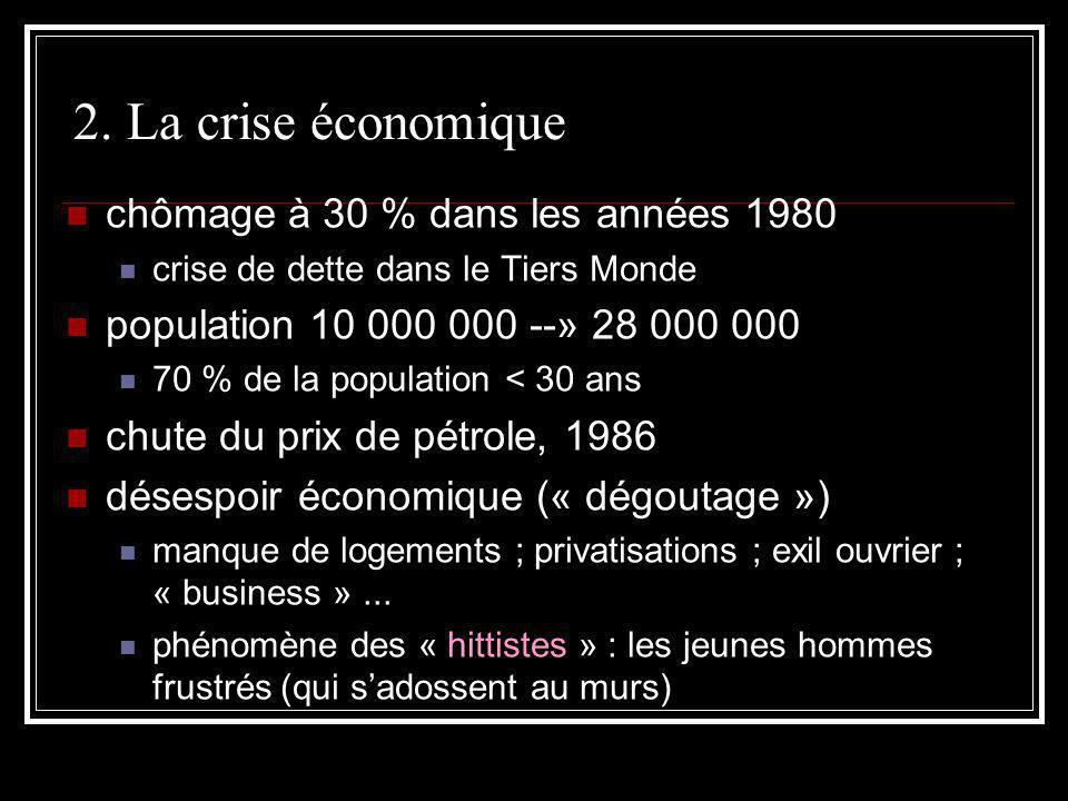 2. La crise économique chômage à 30 % dans les années 1980 crise de dette dans le Tiers Monde population 10 000 000 --» 28 000 000 70 % de la populati