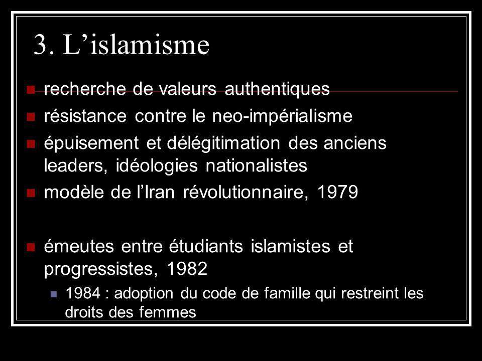 3. Lislamisme recherche de valeurs authentiques résistance contre le neo-impérialisme épuisement et délégitimation des anciens leaders, idéologies nat