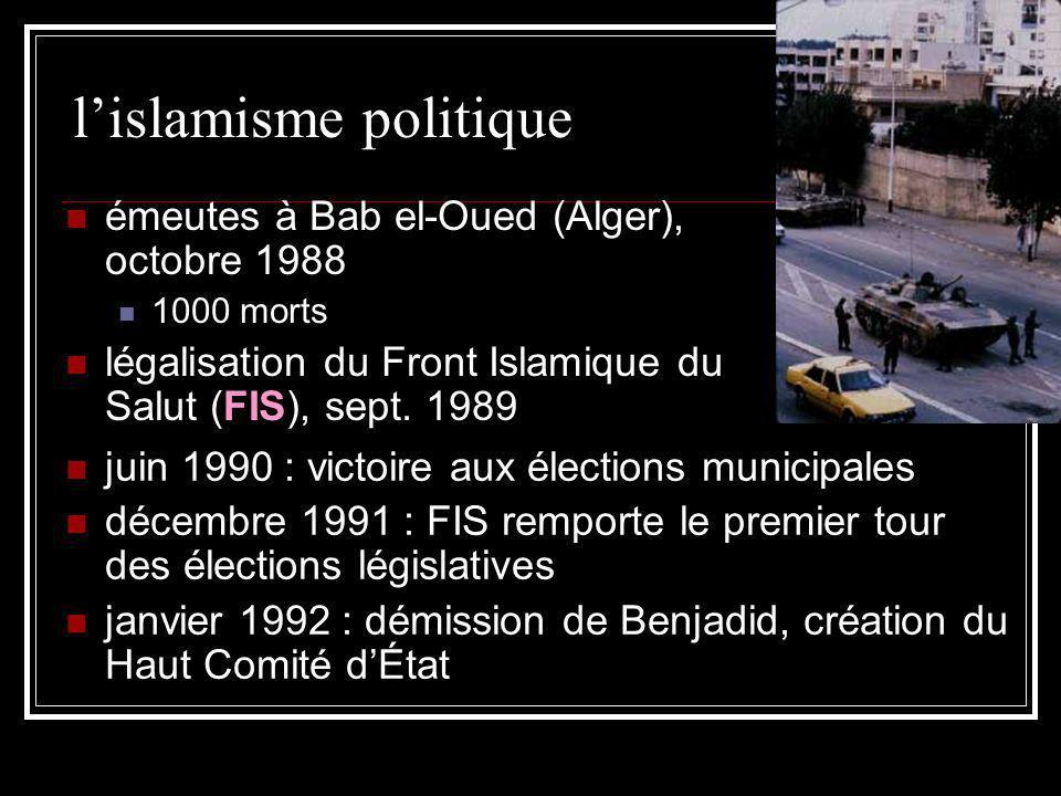 lislamisme politique émeutes à Bab el-Oued (Alger), octobre 1988 1000 morts légalisation du Front Islamique du Salut (FIS), sept. 1989 juin 1990 : vic