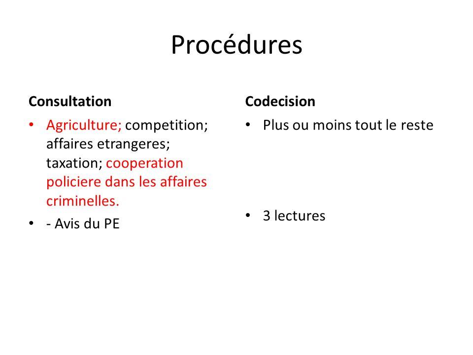 Procédures Consultation Agriculture; competition; affaires etrangeres; taxation; cooperation policiere dans les affaires criminelles.