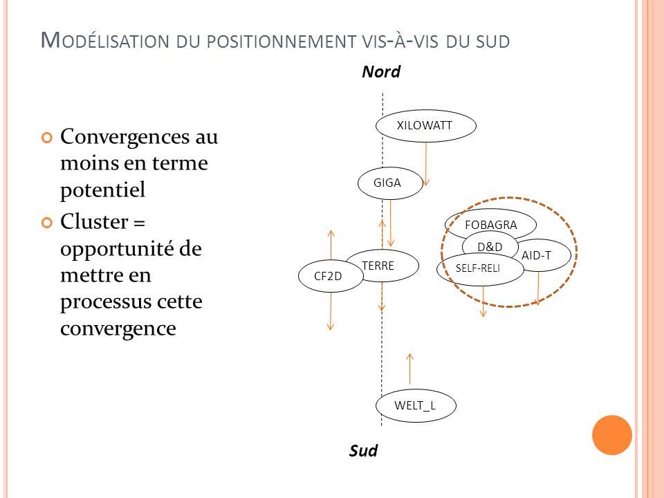 M ODÉLISATION DU POSITIONNEMENT VIS - À - VIS DU SUD Nord AID-T TERRE XILOWATT WELT_L CF2D GIGA FOBAGRA D&D SELF-RELI Sud Convergences au moins en terme potentiel Cluster = opportunité de mettre en processus cette convergence
