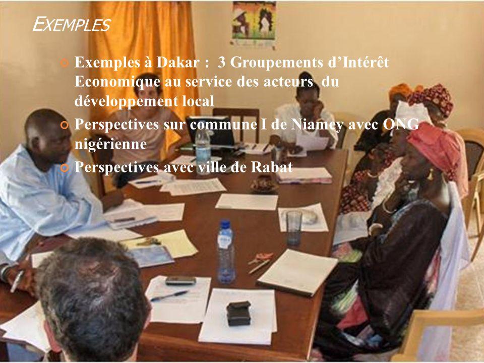 E XEMPLES Exemples à Dakar : 3 Groupements dIntérêt Economique au service des acteurs du développement local Perspectives sur commune I de Niamey avec ONG nigérienne Perspectives avec ville de Rabat