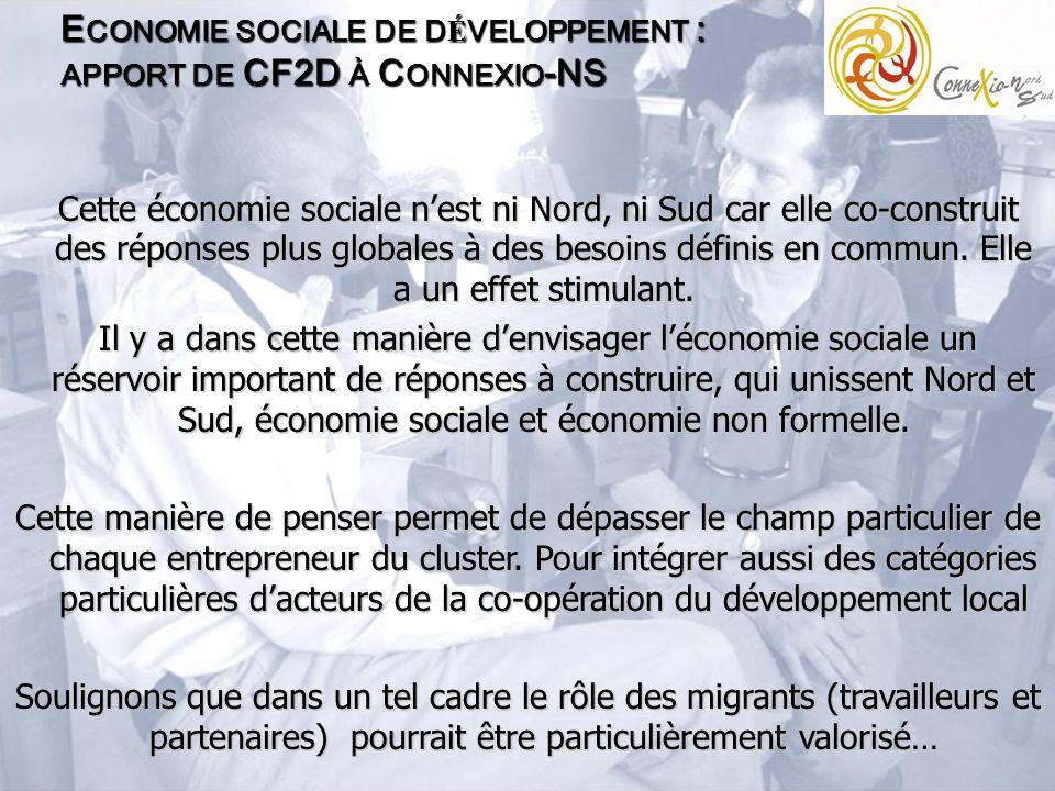 E CONOMIE SOCIALE DE D É VELOPPEMENT : APPORT DE CF2D À C ONNEXIO -NS Cette économie sociale nest ni Nord, ni Sud car elle co-construit des réponses plus globales à des besoins définis en commun.