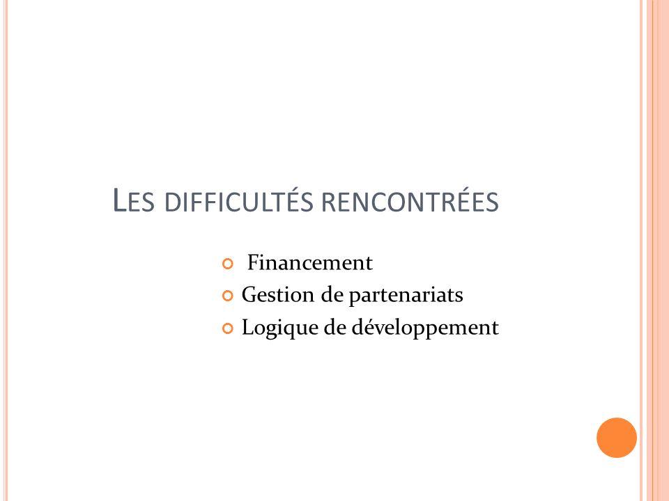 L ES DIFFICULTÉS RENCONTRÉES Financement Gestion de partenariats Logique de développement