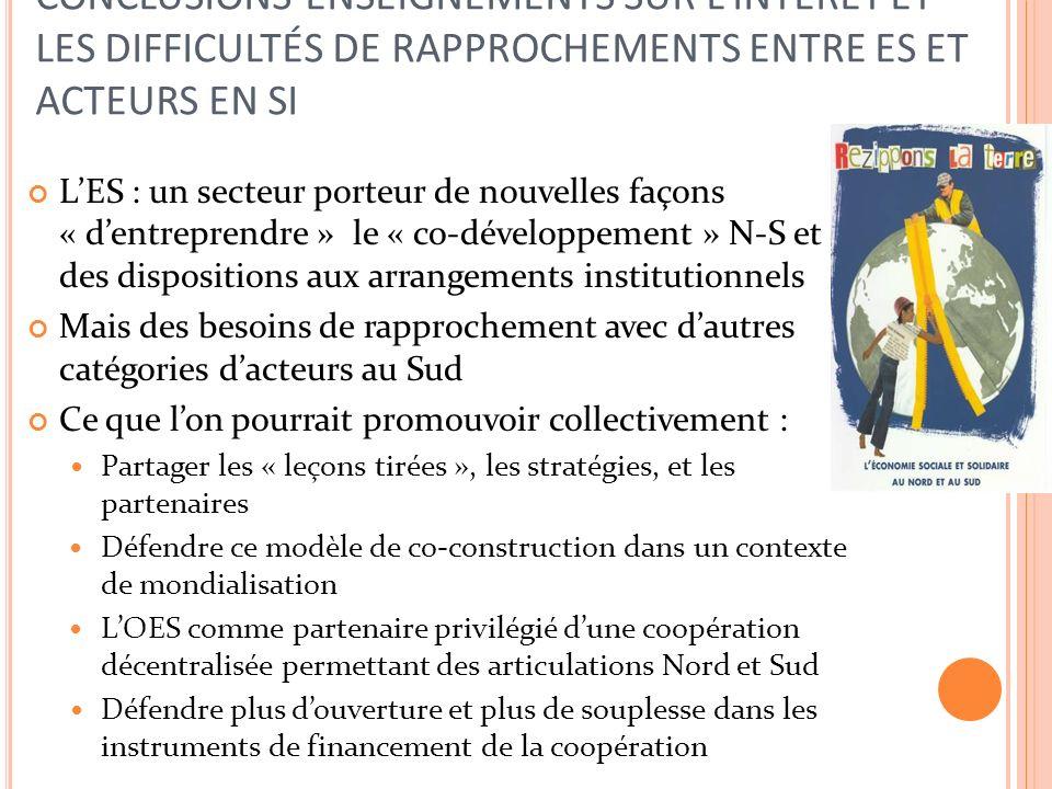 CONCLUSIONS-ENSEIGNEMENTS SUR LINTERÊT ET LES DIFFICULTÉS DE RAPPROCHEMENTS ENTRE ES ET ACTEURS EN SI LES : un secteur porteur de nouvelles façons « dentreprendre » le « co-développement » N-S et des dispositions aux arrangements institutionnels Mais des besoins de rapprochement avec dautres catégories dacteurs au Sud Ce que lon pourrait promouvoir collectivement : Partager les « leçons tirées », les stratégies, et les partenaires Défendre ce modèle de co-construction dans un contexte de mondialisation LOES comme partenaire privilégié dune coopération décentralisée permettant des articulations Nord et Sud Défendre plus douverture et plus de souplesse dans les instruments de financement de la coopération
