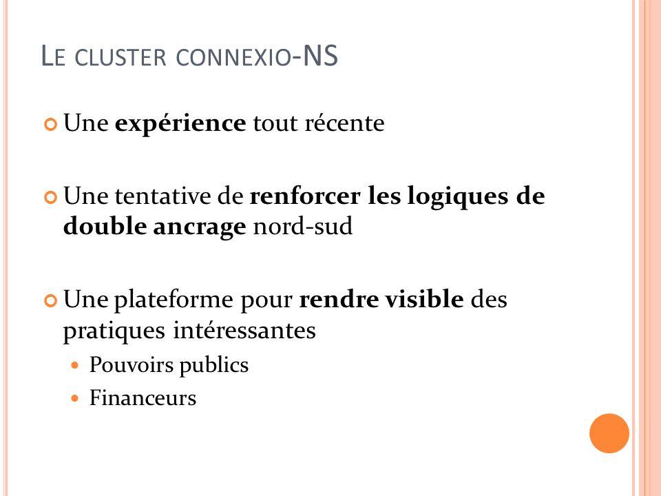 L E CLUSTER CONNEXIO -NS Une expérience tout récente Une tentative de renforcer les logiques de double ancrage nord-sud Une plateforme pour rendre visible des pratiques intéressantes Pouvoirs publics Financeurs