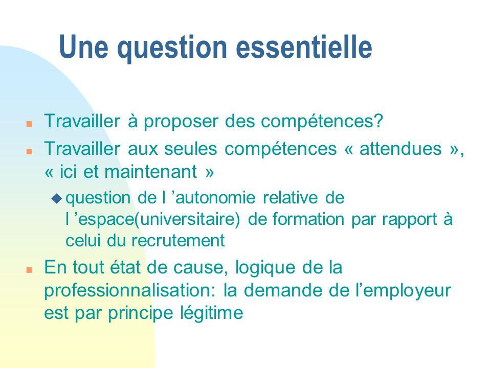 Une question essentielle n Travailler à proposer des compétences.
