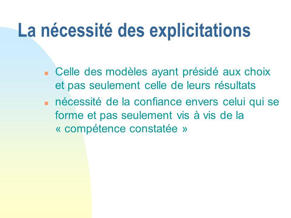 La nécessité des explicitations n Celle des modèles ayant présidé aux choix et pas seulement celle de leurs résultats n nécessité de la confiance envers celui qui se forme et pas seulement vis à vis de la « compétence constatée »