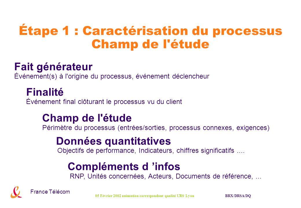 France Télécom BRX/DRSA/DQ05 Février 2002 animation correspondant qualité URS Lyon Étape 1 : Caractérisation du processus Champ de l'étude Fait généra