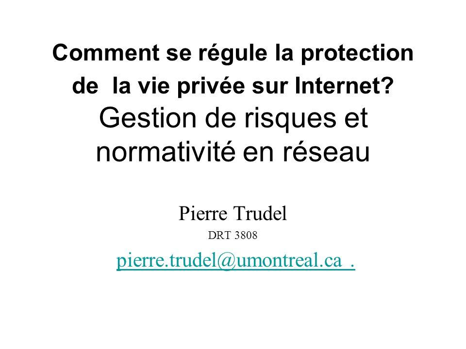 Comment se régule la protection de la vie privée sur Internet? Gestion de risques et normativité en réseau Pierre Trudel DRT 3808 pierre.trudel@umontr