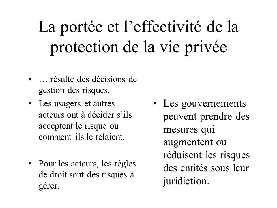 La portée et leffectivité de la protection de la vie privée … résulte des décisions de gestion des risques. Les usagers et autres acteurs ont à décide
