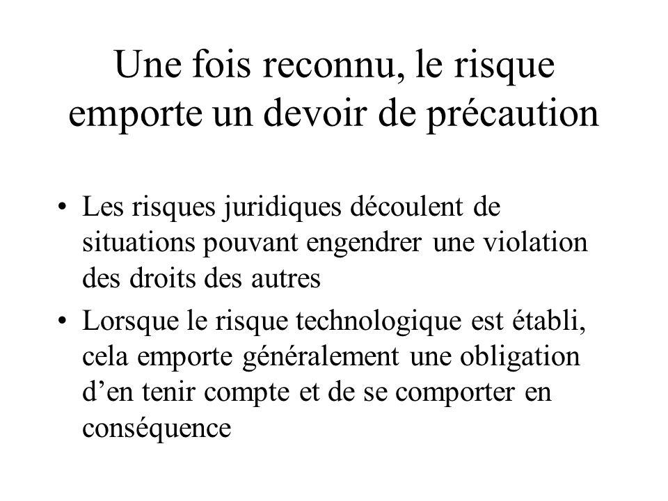Une fois reconnu, le risque emporte un devoir de précaution Les risques juridiques découlent de situations pouvant engendrer une violation des droits des autres Lorsque le risque technologique est établi, cela emporte généralement une obligation den tenir compte et de se comporter en conséquence