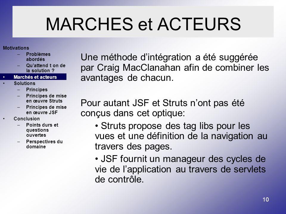 10 MARCHES et ACTEURS Une méthode dintégration a été suggérée par Craig MacClanahan afin de combiner les avantages de chacun.