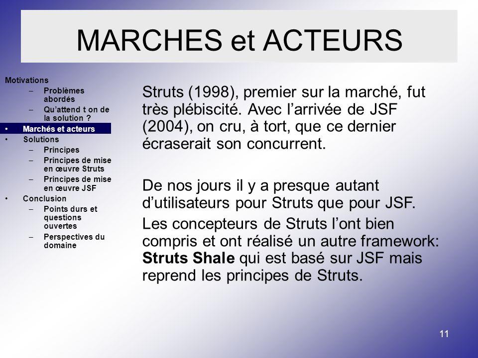 11 MARCHES et ACTEURS Struts (1998), premier sur la marché, fut très plébiscité.