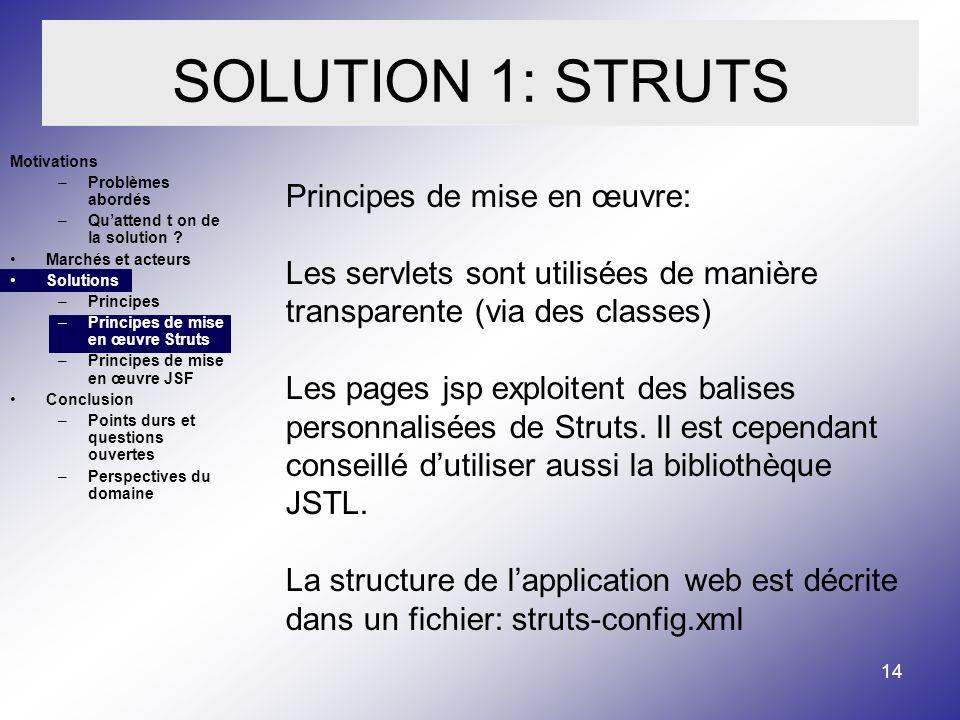 14 SOLUTION 1: STRUTS Motivations –Problèmes abordés –Quattend t on de la solution .