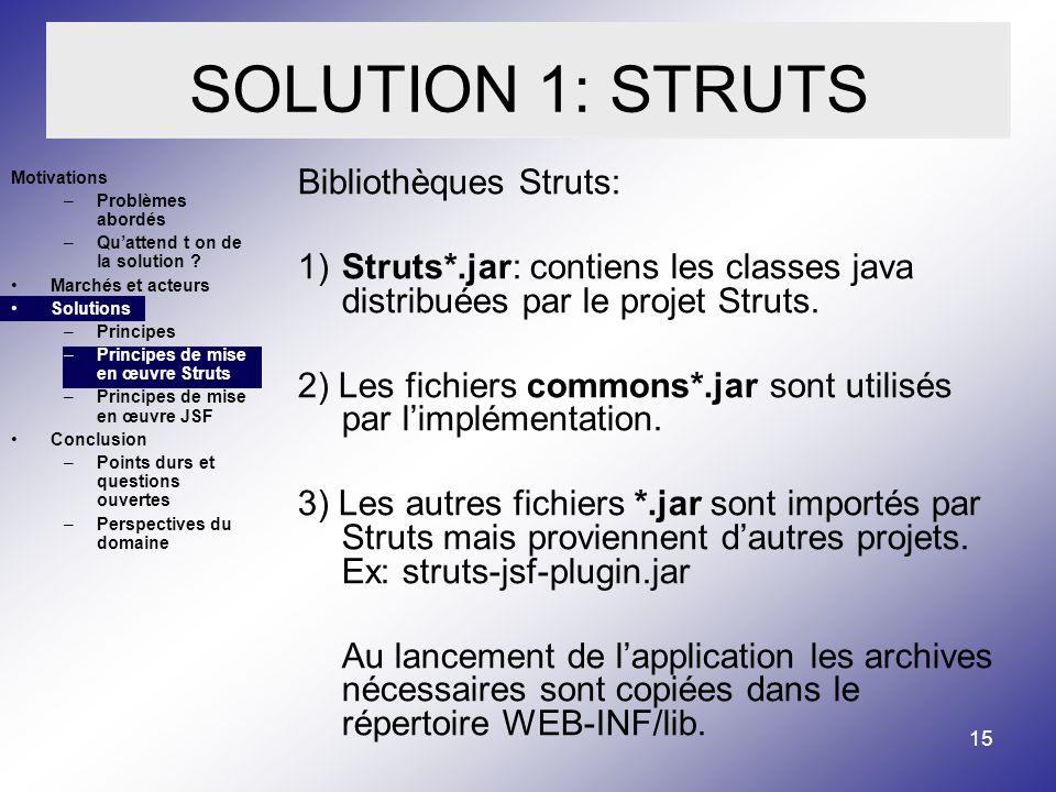 15 SOLUTION 1: STRUTS Motivations –Problèmes abordés –Quattend t on de la solution .