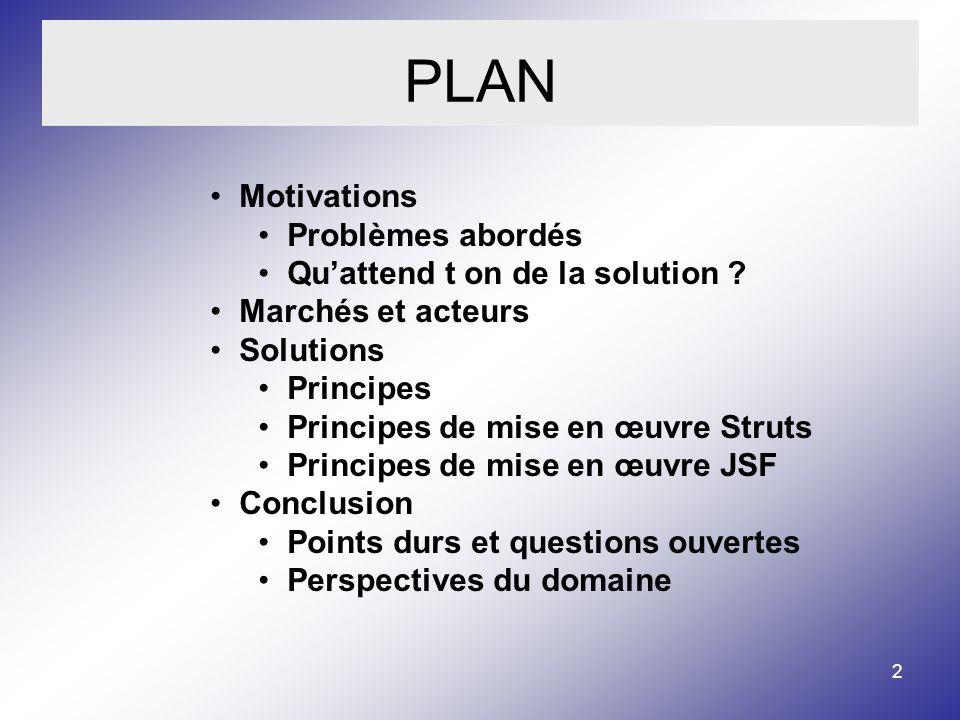 2 PLAN Motivations Problèmes abordés Quattend t on de la solution .