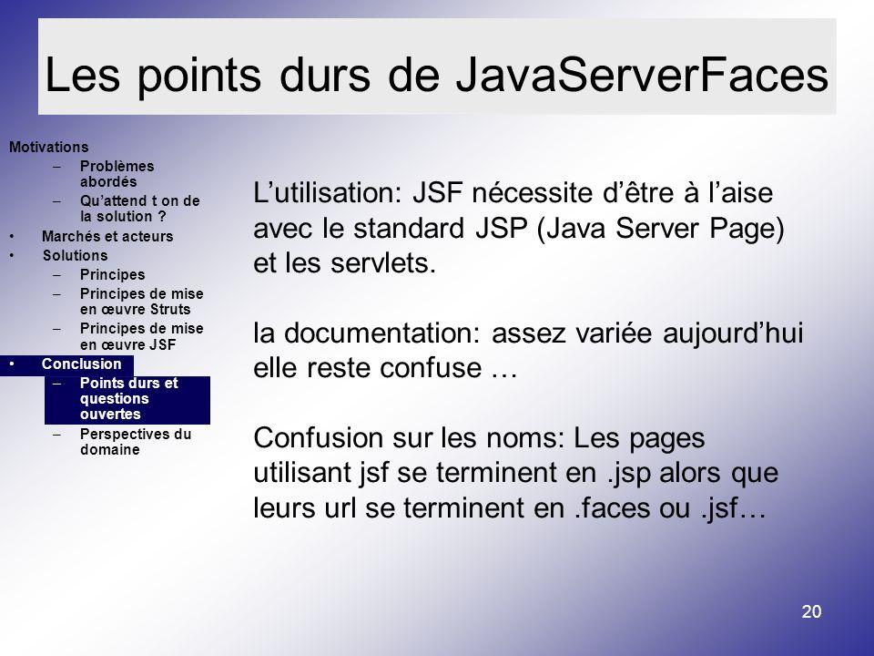20 Les points durs de JavaServerFaces Motivations –Problèmes abordés –Quattend t on de la solution .