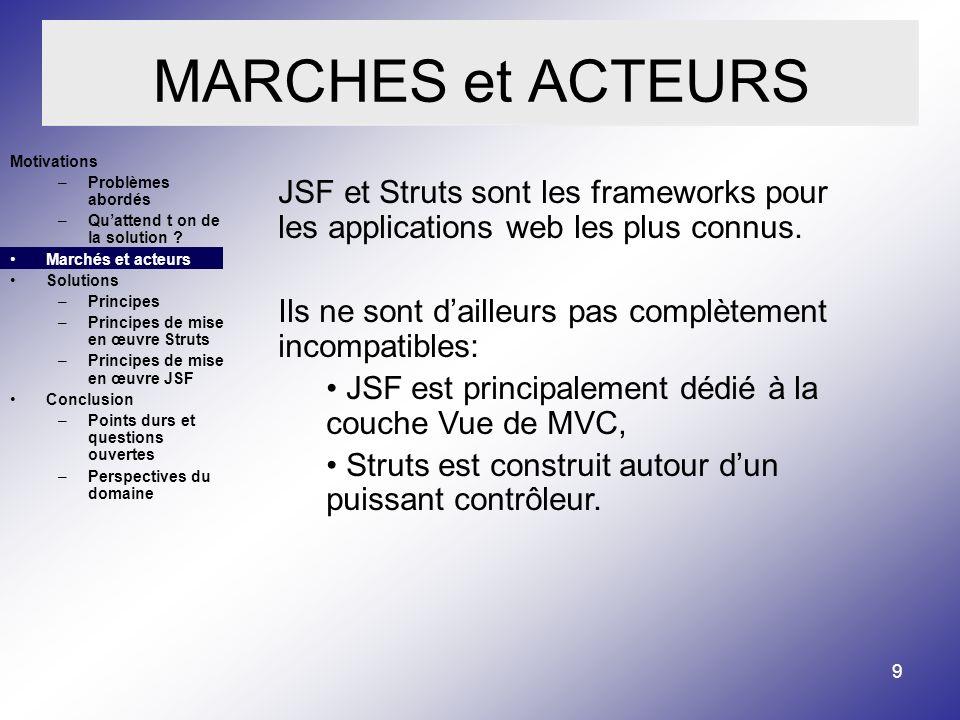 9 MARCHES et ACTEURS JSF et Struts sont les frameworks pour les applications web les plus connus.