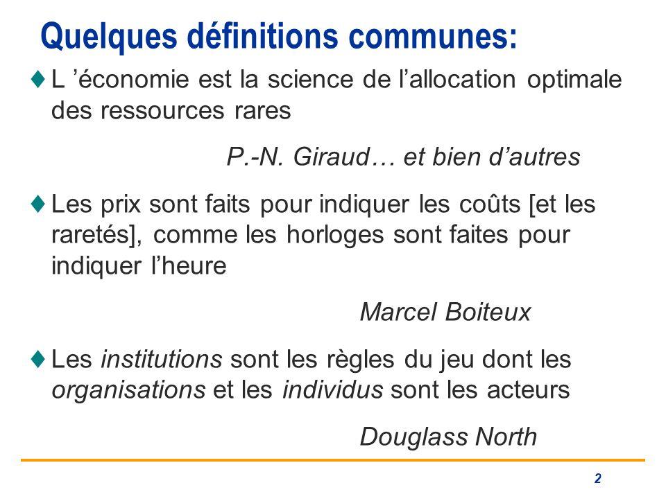 Quelques définitions communes: L économie est la science de lallocation optimale des ressources rares P.-N.