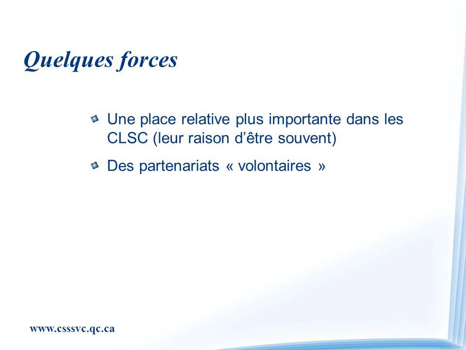 www.csssvc.qc.ca Quelques forces Une place relative plus importante dans les CLSC (leur raison dêtre souvent) Des partenariats « volontaires »