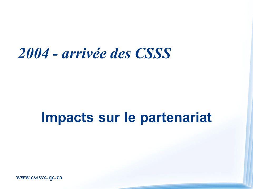 www.csssvc.qc.ca 2004 - arrivée des CSSS Impacts sur le partenariat