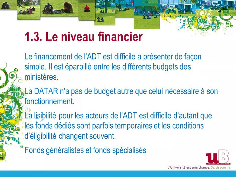 1.3. Le niveau financier Le financement de lADT est difficile à présenter de façon simple. Il est éparpillé entre les différents budgets des ministère