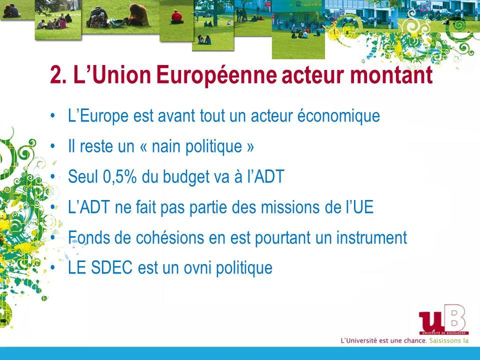 2. LUnion Européenne acteur montant LEurope est avant tout un acteur économique Il reste un « nain politique » Seul 0,5% du budget va à lADT LADT ne f