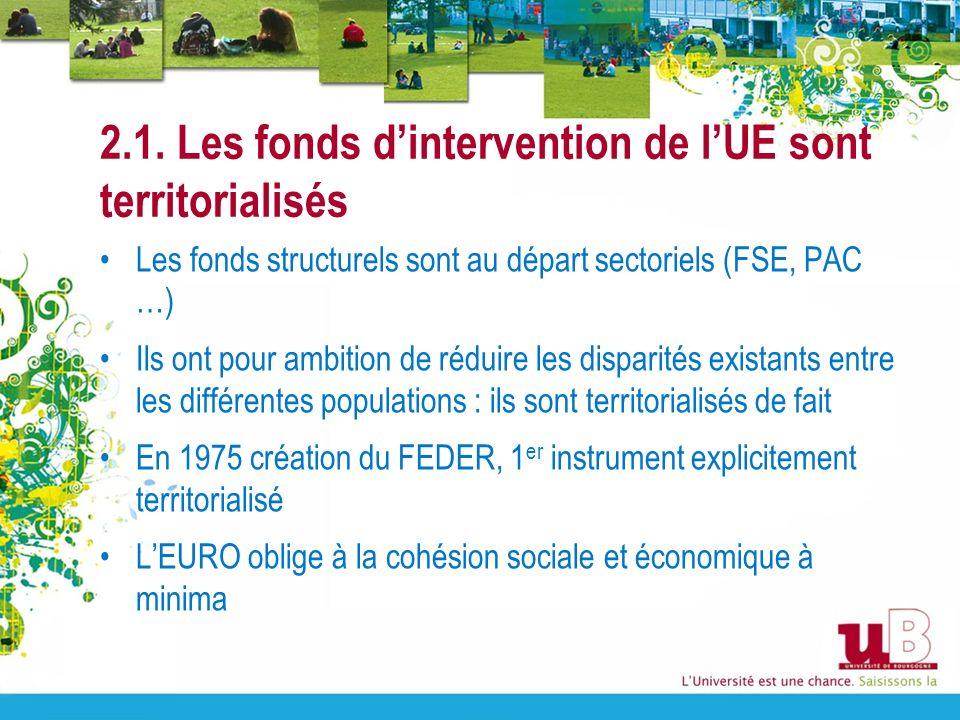 2.1. Les fonds dintervention de lUE sont territorialisés Les fonds structurels sont au départ sectoriels (FSE, PAC …) Ils ont pour ambition de réduire