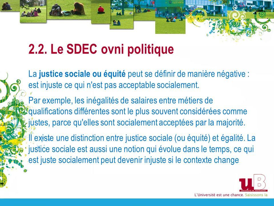2.2. Le SDEC ovni politique La justice sociale ou équité peut se définir de manière négative : est injuste ce qui n'est pas acceptable socialement. Pa
