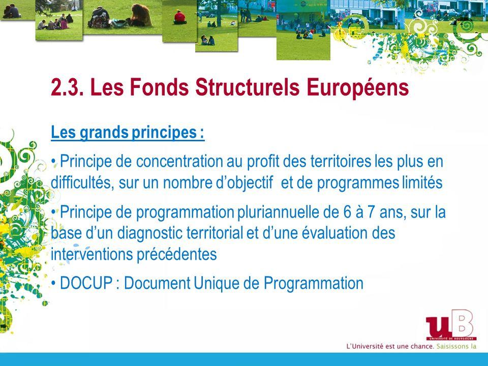 2.3. Les Fonds Structurels Européens Les grands principes : Principe de concentration au profit des territoires les plus en difficultés, sur un nombre