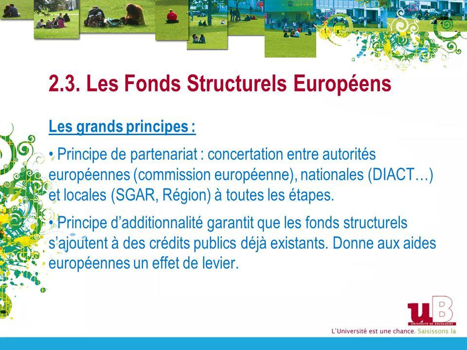 2.3. Les Fonds Structurels Européens Les grands principes : Principe de partenariat : concertation entre autorités européennes (commission européenne)