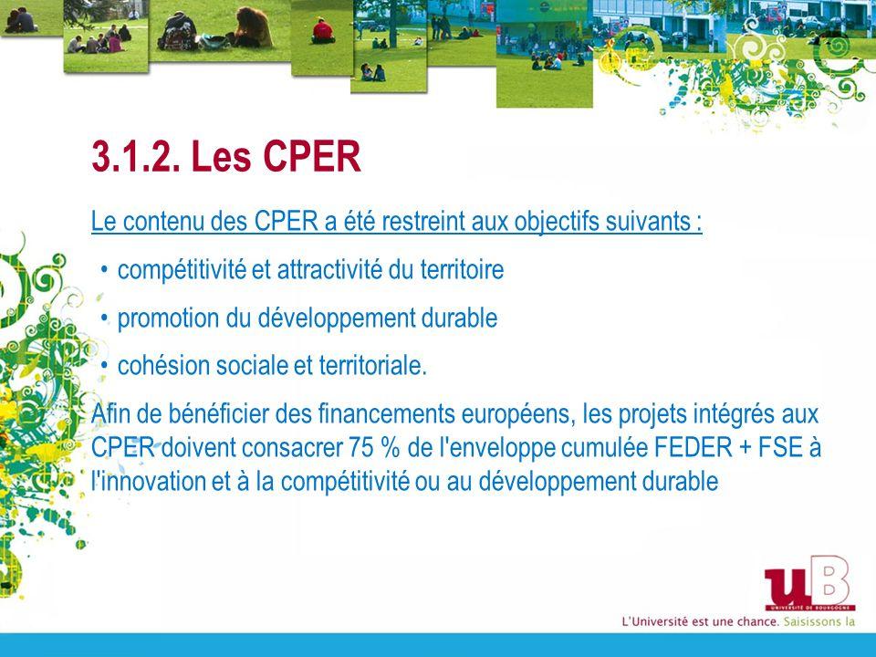 3.1.2. Les CPER Le contenu des CPER a été restreint aux objectifs suivants : compétitivité et attractivité du territoire promotion du développement du
