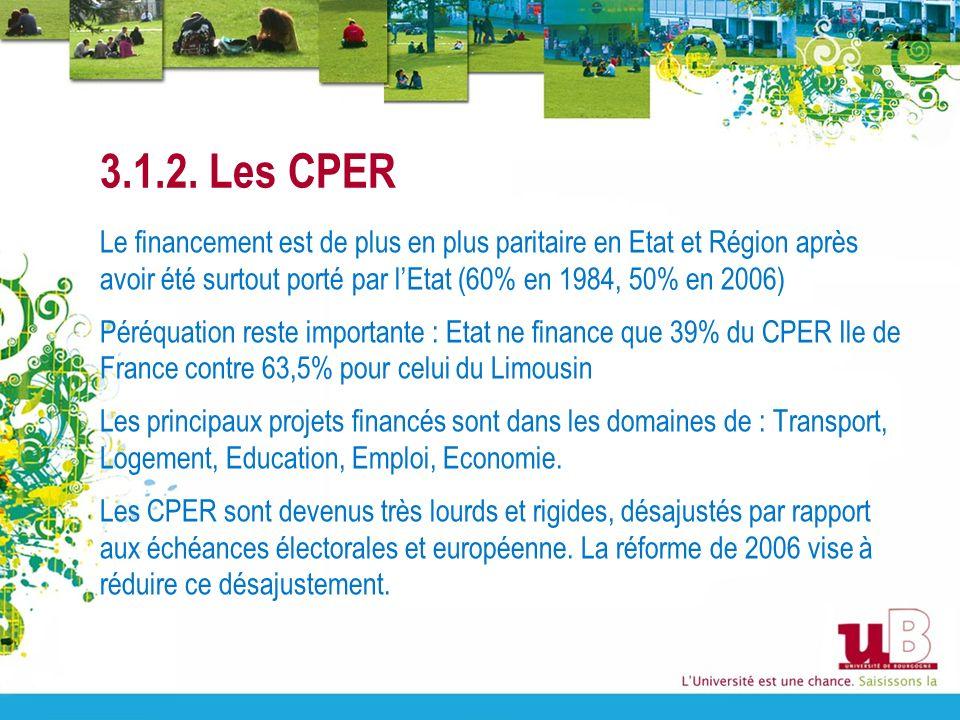 3.1.2. Les CPER Le financement est de plus en plus paritaire en Etat et Région après avoir été surtout porté par lEtat (60% en 1984, 50% en 2006) Péré